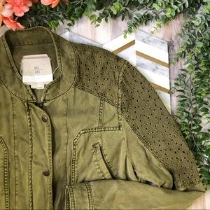 Hei Hei Anthropologie Green Lace Utility Jacket